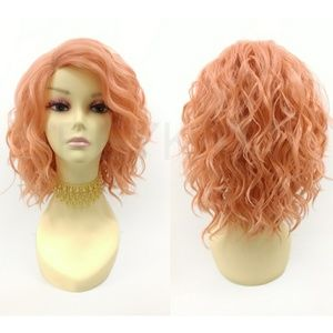 Peach Pink Lace Front Wavy Lob Heat Resistant Wig